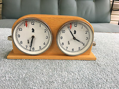 Vintage Hungarian Aro Chess Clock Solid Wood Case WORKS