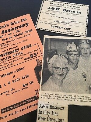 A&W Root Beer Flyer Clipping Lot Vintage Mitchell SD Hilda Earl Advert
