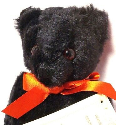 "Deans Rag Book LE Neil Miller Ernook 8.75"" Black Jointed Teddy Bear 100% Mohair"