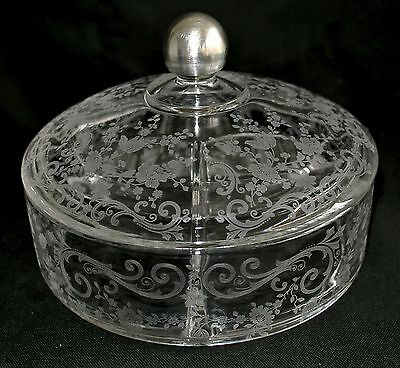 """Cambridge Glass Etched Chantilly 3 Section Candy Dish, Sterling Silver Knob-7"""""""