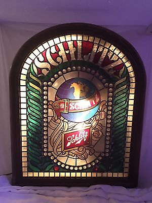 Schlitz Beer Stained Glass Style 1977 Lighted Sign With Globe Wall Hanging