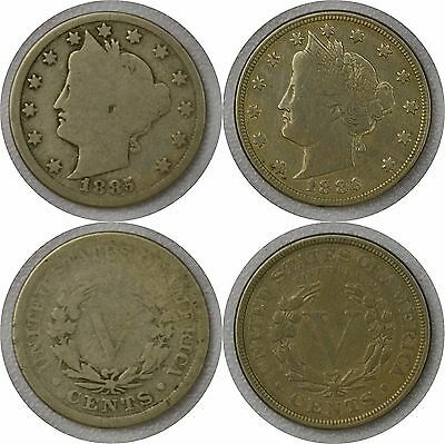 1885 & 1886 Liberty Nickel, V Nickel, Very Tough Key Dates Two coins ONE auction