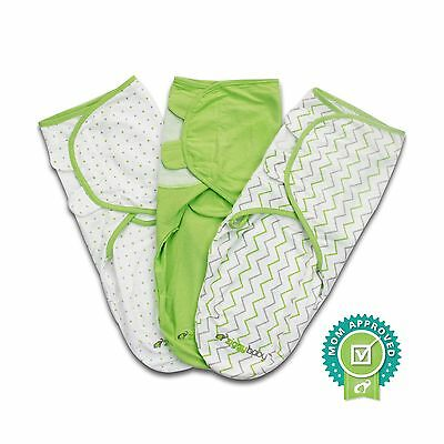 Baby Swaddle Blanket Wrap Set (3 Pack) Green Grey Chevron Dot Solid