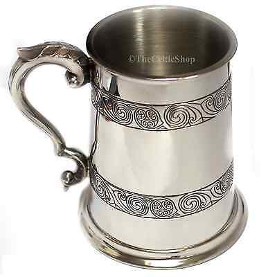 1 Pint Pewter Beer Lager Tankard - Celtic Kells Knot Design can be personalised