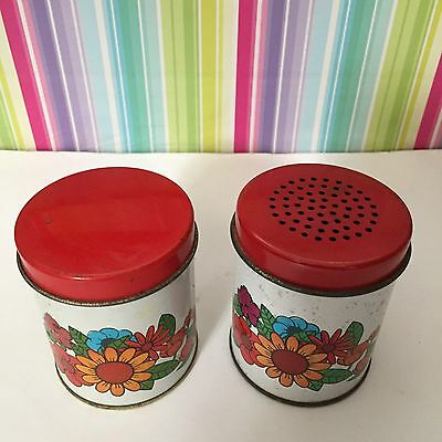 vintage kitchen red topped spices duo 1960s retro spices tins made in brazil