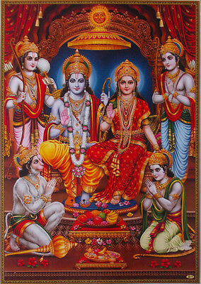 "Lord Rama Ram with Sita, Hanuman, Brothers - POSTER (Big Size: 20""x30"")"
