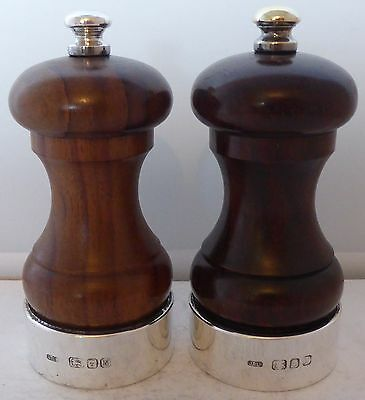 Lignum Vitae & Solid Hallmarked Silver Cruet Set  Salt and Pepper Grinders Mills