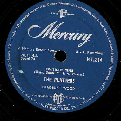 """THE PLATTERS  Twilight time """"R+R"""" / Out of my mind   78rpm Vinylplatte     S8393"""