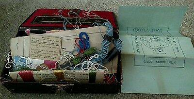 Antique embroidery, needles,yarn, and other sewing materials. ESTATE SALE