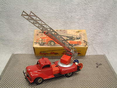 Vintage Gama Tin Clockwork Fire Engine Truck W/ladder! Perfectly Working W/box!