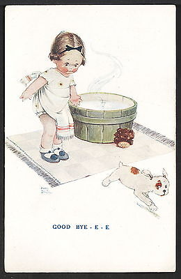 Signed Mabel Lucie Attwell 1920s Valentine's Postcard #A4645 Dog Runs from Bath