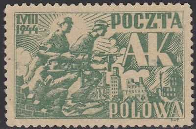 1944 Wwii Poland Warsaw Uprising Definitive Issue Ak Army Poczta Polowa Rare !