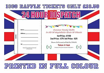 1000 Printed Personalised Raffle Prize Draw Tickets 24 Hour Dispatch