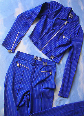 JACKET and TROUSERS woman vintage 90's VERSACE Jeans Couture   TG.S/M Rare