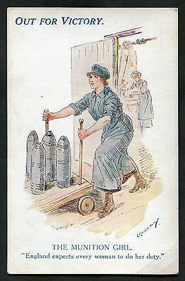 C1918 WWI: Illustrated Card: Out For Victory: The Munition Girl