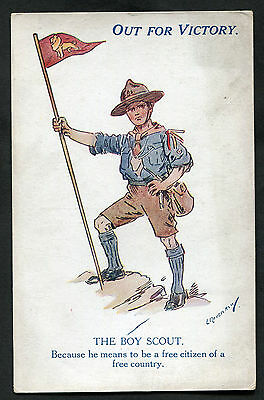 C1918 WWI: Illustrated Card: Out For Victory: The Boy Scout