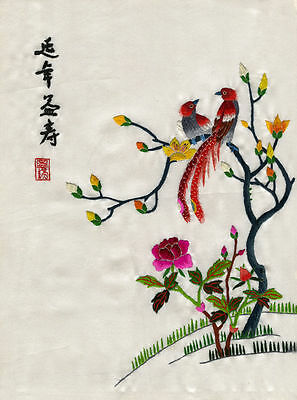 Pheasants on a Branch - Chinese silk embroidery