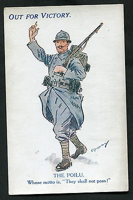 C1918 WWI: Illustrated Card: Out For Victory: The Poilu (French Soldier)