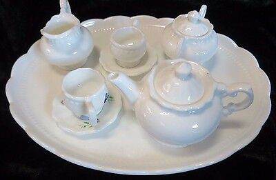 Antique Porcelain French Dolls Tea Set On Tray - Floral and White