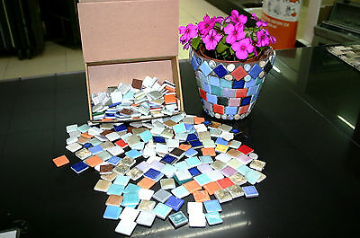2 kilo box of loose Multicolour Glass and Ceramic Mosaic mostly 25mm x 25mm bits