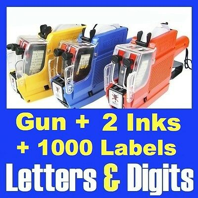 Alphanumeric Price Gun 2 Lines Rows 10 Letters & 10 Numbers 1000 Labels Inks