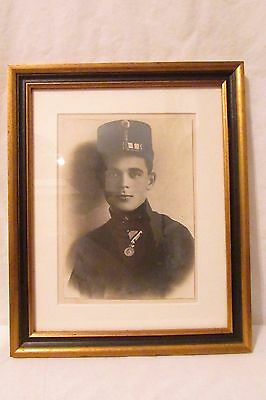 RARE MILITARY Antique Photo WW1 AUSTRO HUNGARIAN SOLDIER HANDSOME FRAMED