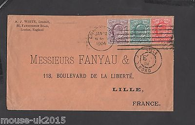 GB 7½d RATE COVER TO FRANCE 1904