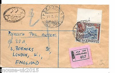 ETHOPIA COMMERCIAL COVER TO PLYMOUTH 60c RATE REGd 27.2.1953