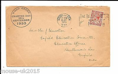GB 1933 1½d RATE COVER FINE WOOD GREEN CHARTER DAY CAHCET.