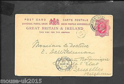 GB 1908 1d POSTAL STAT. TO BELGIUM REVERSE 1908 ROYAL CDS KEW DOUBLE CIRCLE