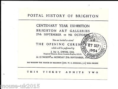 Gb 1954 Invitation Card Brighton Postal History Exhibition. Date Stamped.