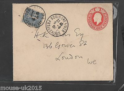 GB 1906 1d KE7 STAT CARD WITH UNUSUAL SENDING FROM FRANCE LONDON RECIEVED