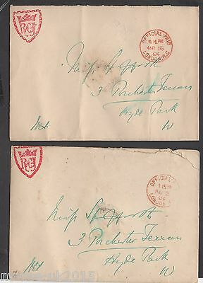 GB 1904 OFFICIAL PAID ENVELOPE x 2 ROYAL COURTS JUSTICE OFFICIAL SEAL ON REVERSE