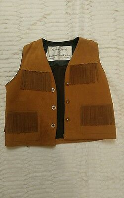 CUSTOM COAT CO. Wisconson FRINGE VEST Western Suede Leather Size M 8 K#
