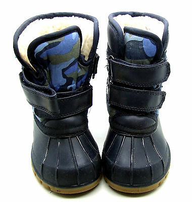 M&S Fur Lined Duck Boots / Snow Boots / Winter Boots - Infant Size 7 - Blue