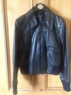 Black Leather Bomber Jacket UK 10/S