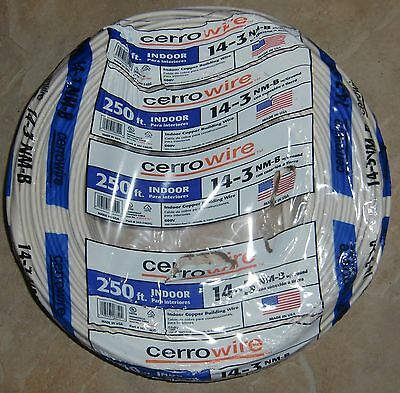 250' Roll 14-3 w/Ground Cerro NM-B Indoor Copper Building Electrical Wire USA