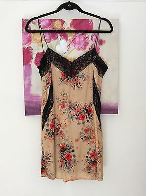 Zara Tan Poppy Print Black Lace Panel Cami Dress, Size UK M 10 New