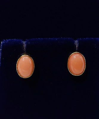 Rub Over Coral Stud Earrings in 9ct Yellow Gold