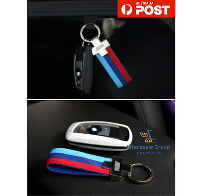 BMW M SPORT LEATHER KEYRING STAINLESS STEEL Key Ring Chain M3 M4 M5 E46 330 CI