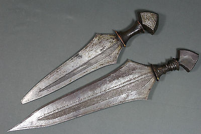 2 rare African Lokele Kongo short swords (knives) - Early 20th