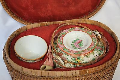 Vintage Chinese Porcelain Travel Picnic Tea Set in Woven Basket 1860 - 1899