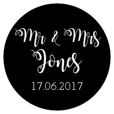 Round personalised MR & MRS confetti bag labels stickers