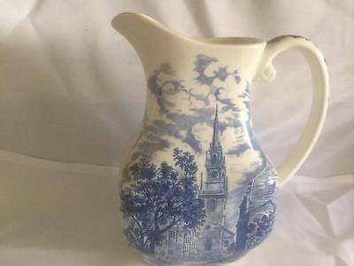 Vintage Liberty Blue Staffordshire Old North Church Pitcher