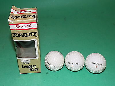 TOP-FLITE Spalding Vintage Small Size GOLF Balls 3 Balls Boxed 1970s Collectors