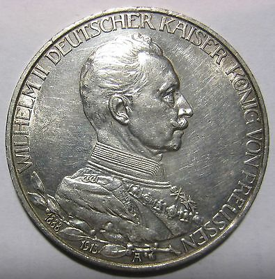 1913- Germany/Prussia - 3 Mark Silver Coin