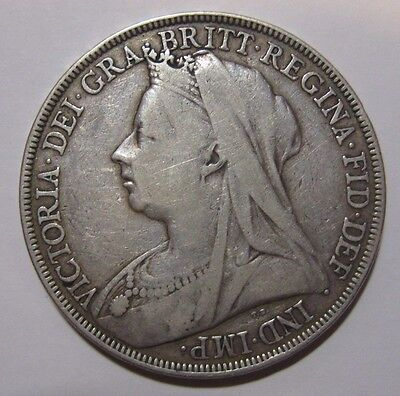 1898 LXII - Great Britain - One Crown Genuine Silver Coin