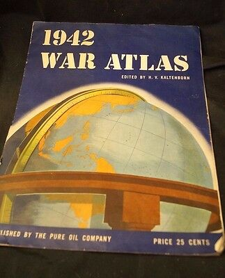 1942 War Atlas WW2 Pure Oil Company Advertising Maps