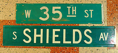 Chicago street sign 35th & Shields Comiskey Park Chicago White Sox genuine USED