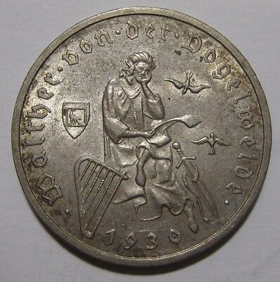 1930A - Germany - 3 Mark Genuine Silver Coin  - Death of Vogelweide